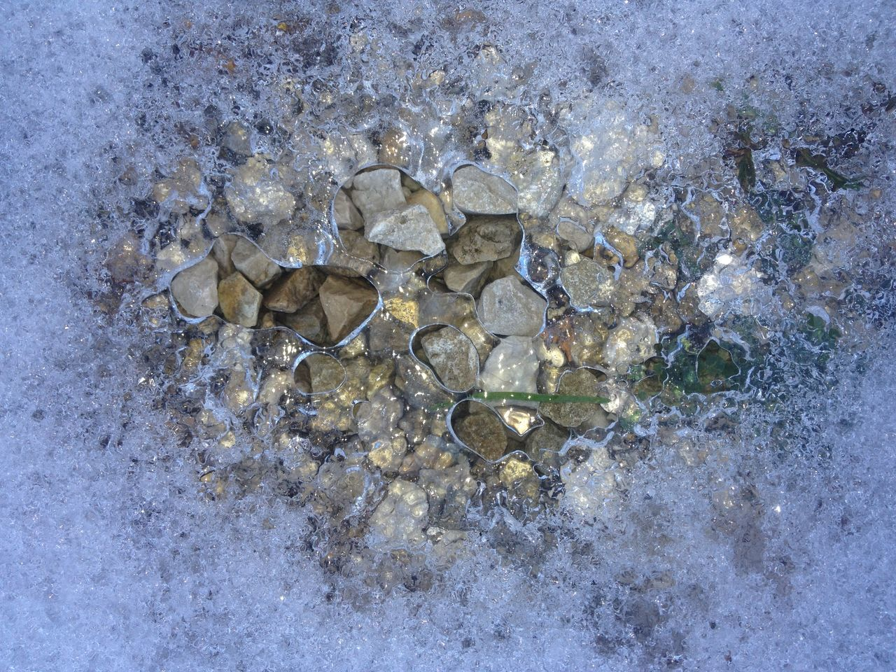 Beauty In Nature Bluelight Close-up High Angle View Ice Icemelting No People Pebbles And Stones Snowmelt Winter