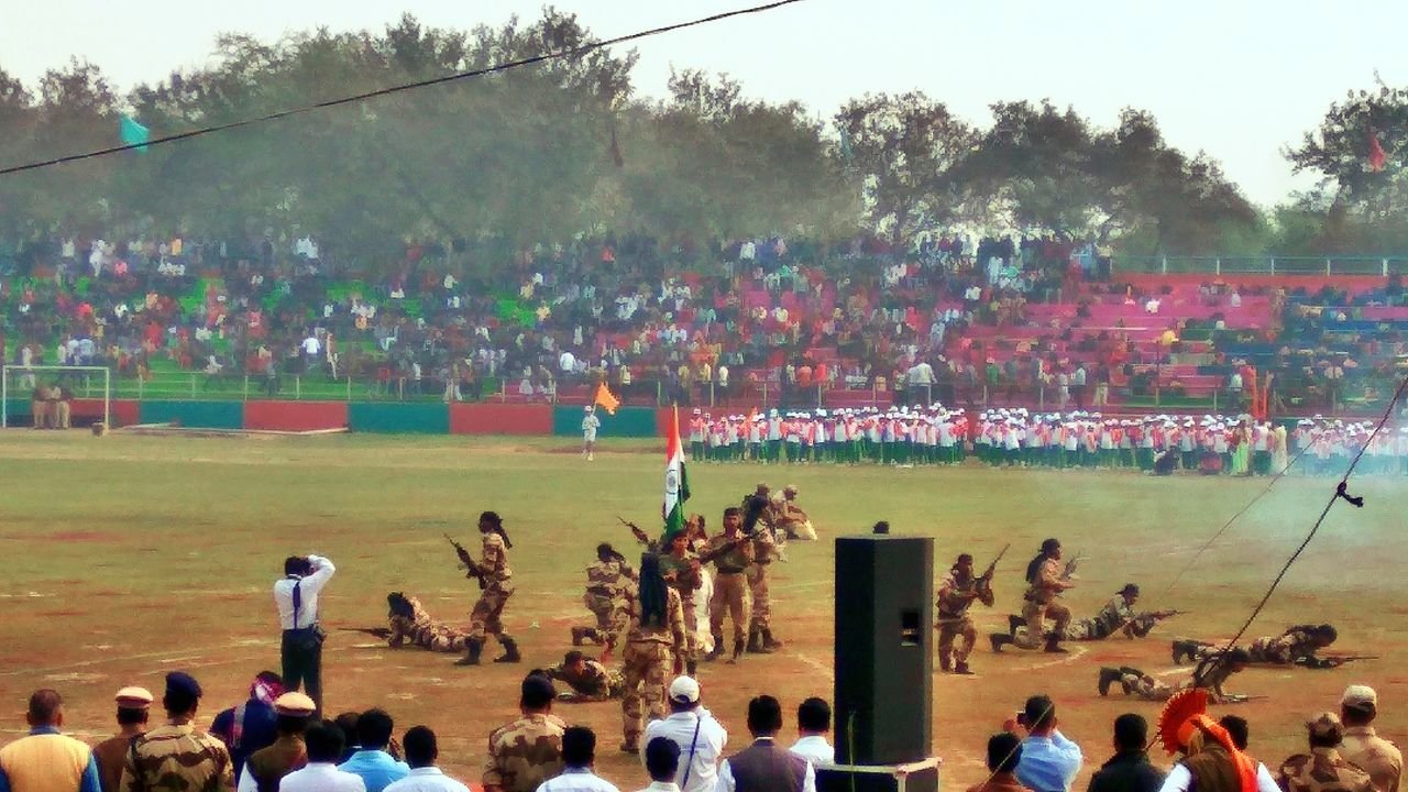 Indian Arm Indian Army Large Group Of People Real People Celebration Tree Outdoors Crowd Men Sky Day Adults Only Togetherness People 68th Republic Day Of India Flag Hoisting , India Stadium Unity Annual Event Patriotism