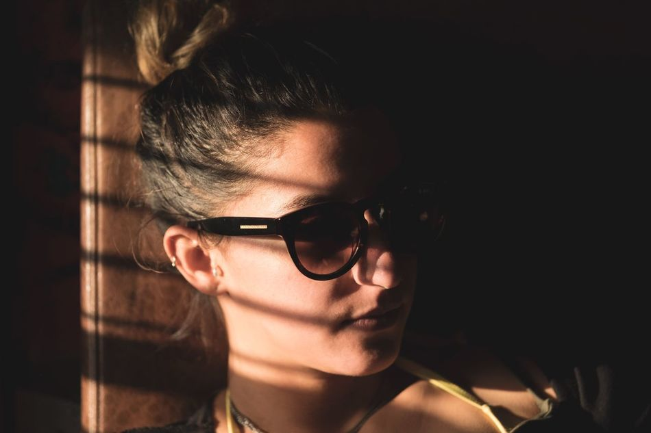 Shadows. Real People Lifestyles One Person Young Adult Eyeglasses  Headshot Portrait Young Women Glasses Close-up Indoors  Day People