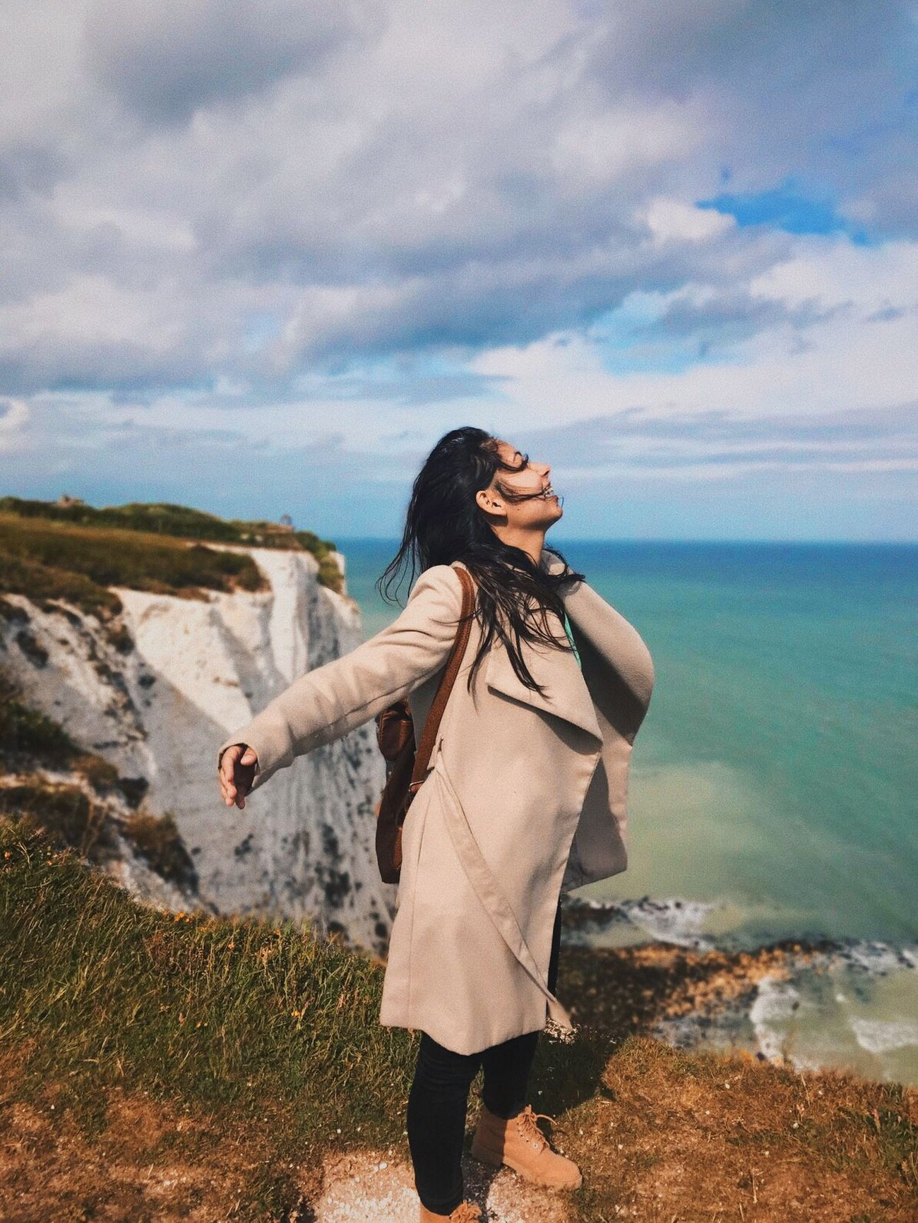 One Person Real People Nature Sky Cloud - Sky Leisure Activity Sea Outdoors Lifestyles Standing Water Beauty In Nature Young Adult Long Hair Scenics Day Full Length Young Women Horizon Over Water Women