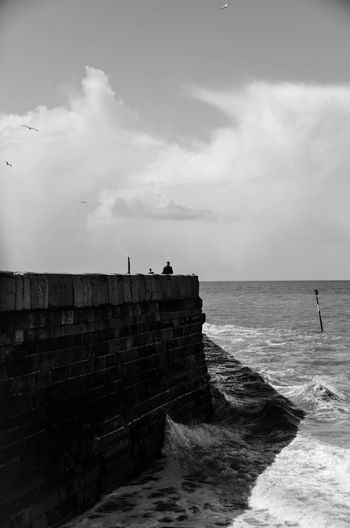 Pier for two. Black And White Margate Sea Sea And Sky Seascape Choppy Waters Pier Margate Beach Exploring New Ground Little People Nikonphotography NikonD5100