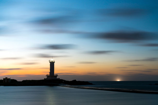 ASIA Jeju Korea Architecture Beauty In Nature Building Exterior Built Structure Cloud - Sky Day Direction Guidance Harbor Horizon Over Water Landscape Lighthouse Nature No People Outdoors Scenery Scenics Sea Sky Sunset Water Waterfront EyeEm Ready   EyeEmNewHere