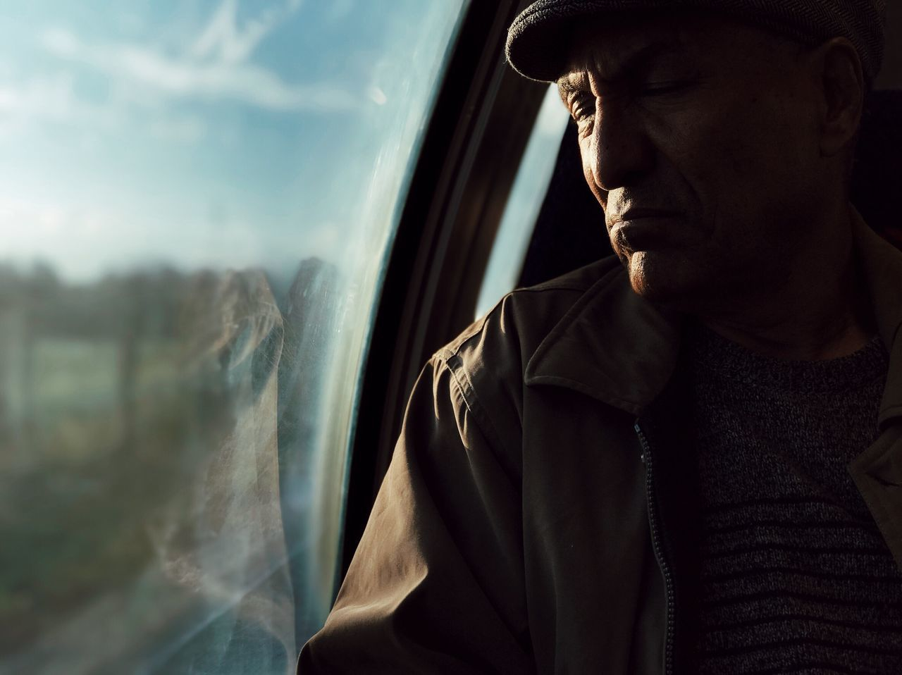 The Portraitist - 2017 EyeEm Awards Window One Person Transportation Men Day Headshot Close-up Lifestyles One Man Only Real People Sky Sea Airplane Outdoors Young Adult Only Men Adult People Shotoniphone7plus מייאייפון7 IPhone7Plus Mydtrainmoments Mytrainmoments