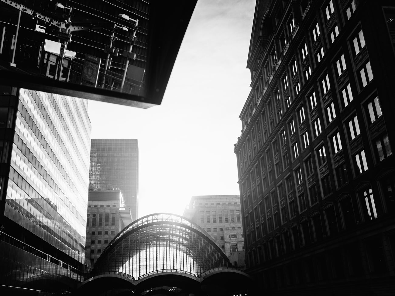 Canary Wharf. City Skyscraper Architecture Built Structure Low Angle View City Life Modern Sky Cityscape No People Cıty London Black And White Photography Blackandwhite Olympus Pen-f Light And Shadow Shadow Light Dark Black And White Prime Lens Rawstreets Olympus Pen F Maxgor Maxgor.com The City Light