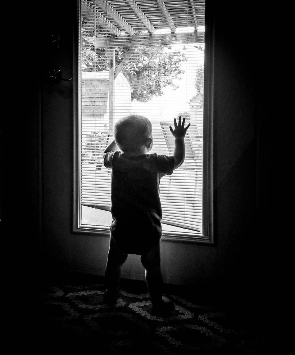 Outside Childhood Baby Blackandwhite Children EyeEm Best Shots Window Looking Out Of The Window Want