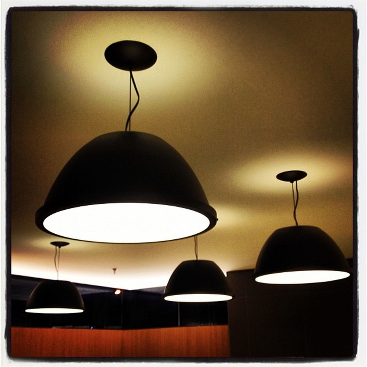 hanging, lighting equipment, electric lamp, lamp shade, illuminated, indoors, no people, electricity