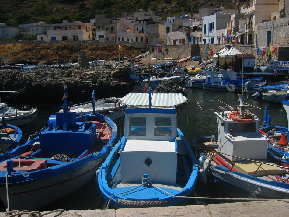 Architecture Boat Building Exterior Built Structure Harbour View House Human Settlement Marettimo Island Mode Of Transport Nautical Vessel Sicily, Italy Water