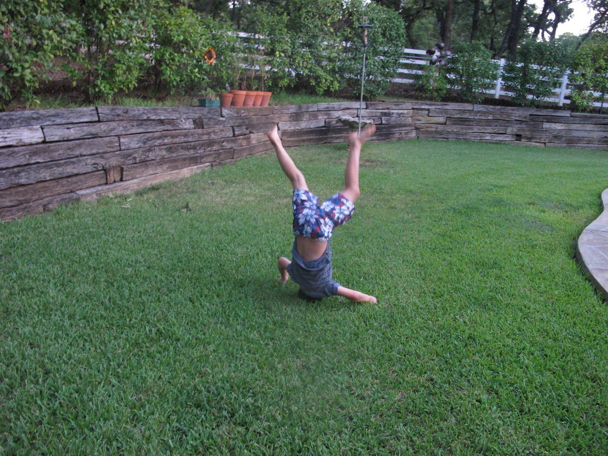 Balance Carefree Cartwheel Casual Clothing Day Enjoyment Field Grass Green Color Gymnastics Headstands Kids Lawn Leisure Activity Lifestyles One Person Outdoors Park Plants Recreational Pursuit Sport