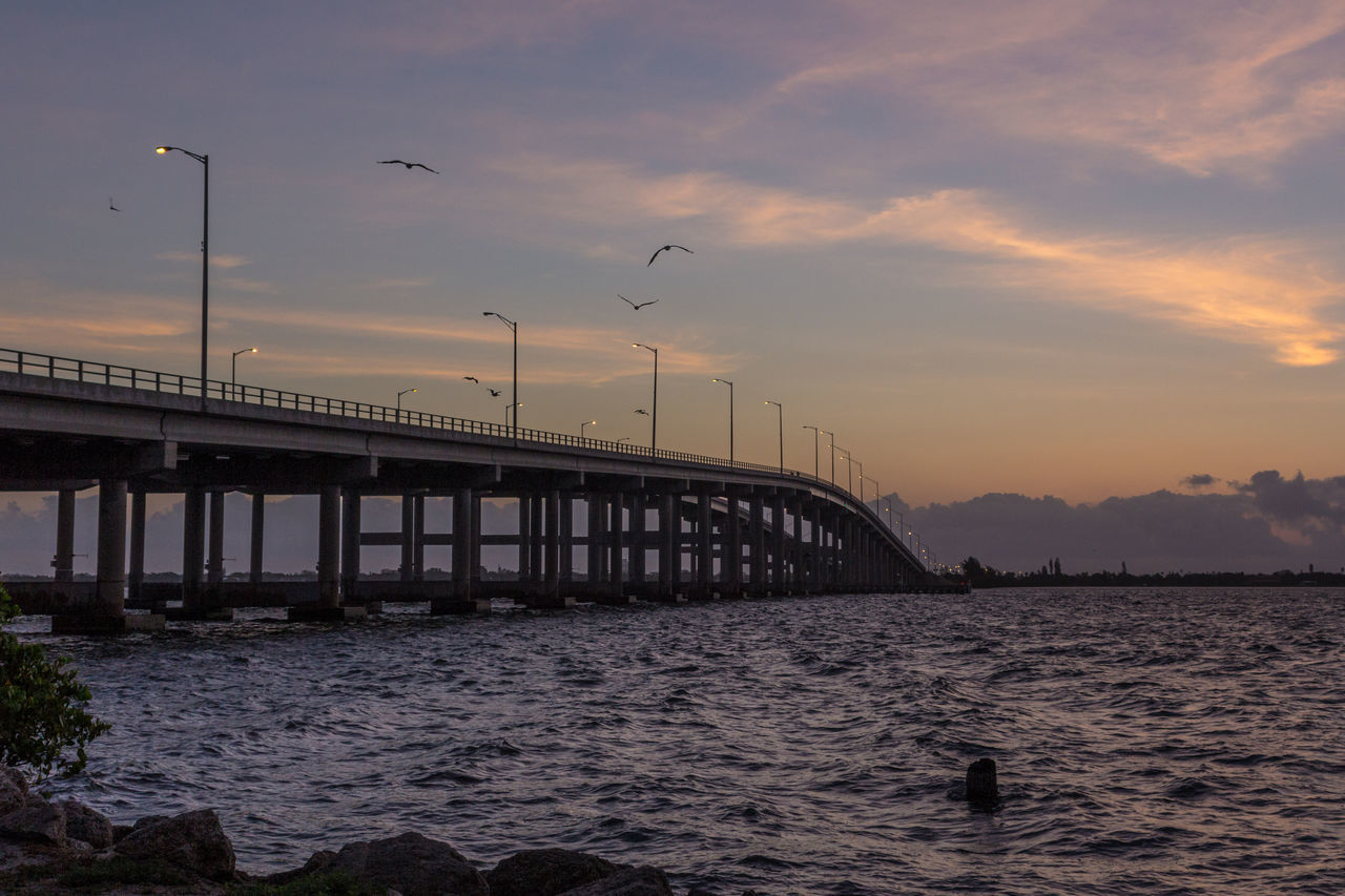 Causeway sunrise Architecture Beauty In Nature Bird Bridge Bridge - Man Made Structure Bridge View Built Structure Connection Indian River Nature No People Outdoors River Sky Sunrise - Dawn Transportation Water