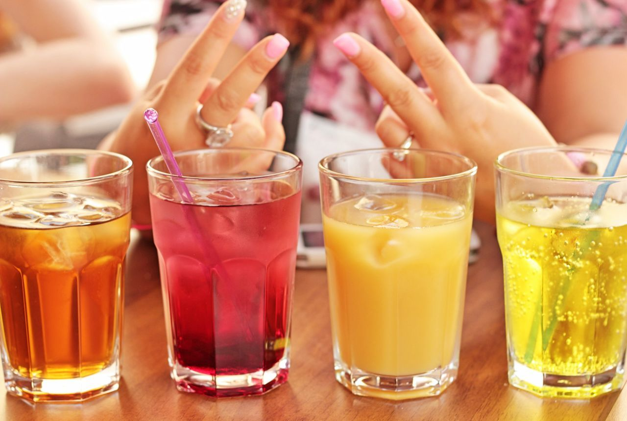 Liquid Lunch Bar Restaurant Drinking 4 FruitJuices Coffee Shop Sirop Colours Girl Signs