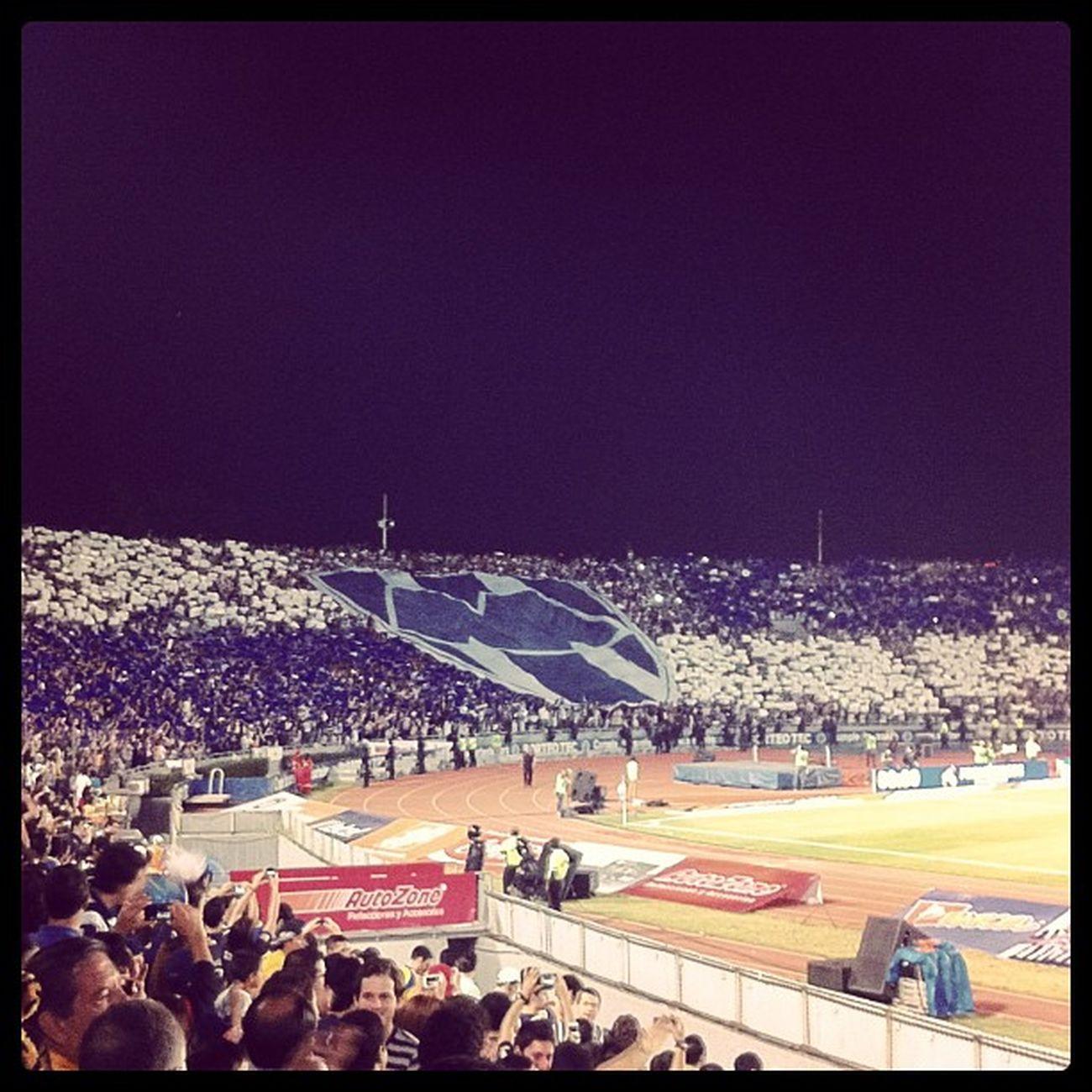 Mural Mosaico Bigflag Rayado rayas rayados de mty monterrey blue white ligamx recibiendo al mejor hinchas barra brava mexico adiccion futbol soccer ⚽?⚽