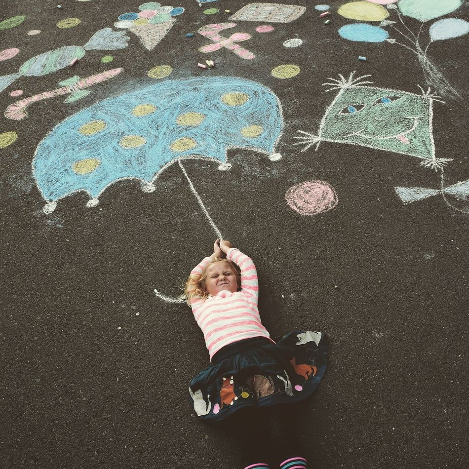 Child Kreativ Kreide Maldirdieweltwiesiedirgefällt Umbrella Fantasie
