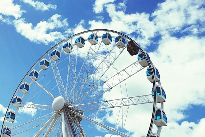 Cloud - Sky Ferris Wheel Amusement Park Arts Culture And Entertainment Sky Low Angle View Big Wheel Day Blue No People Amusement Park Ride Outdoors The Week On EyeEm