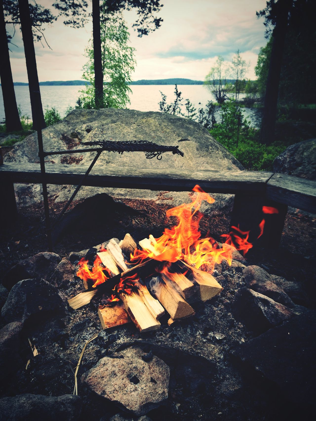 Flame Burning Heat - Temperature Outdoors Fire Pit Day Campfire No People Bonfire Tree Nature Sky Finland Karelia North Nordic Nurmes Lifestyle Fire Life In Finland Finnish Lifestyle
