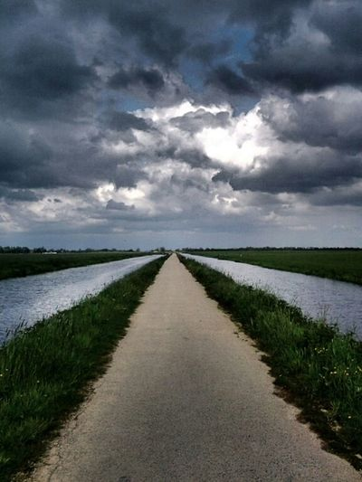 Road To Nowhere Holland The Netherlands Dutch Landscape Clouds And Sky Nature_collection DreamScapes South