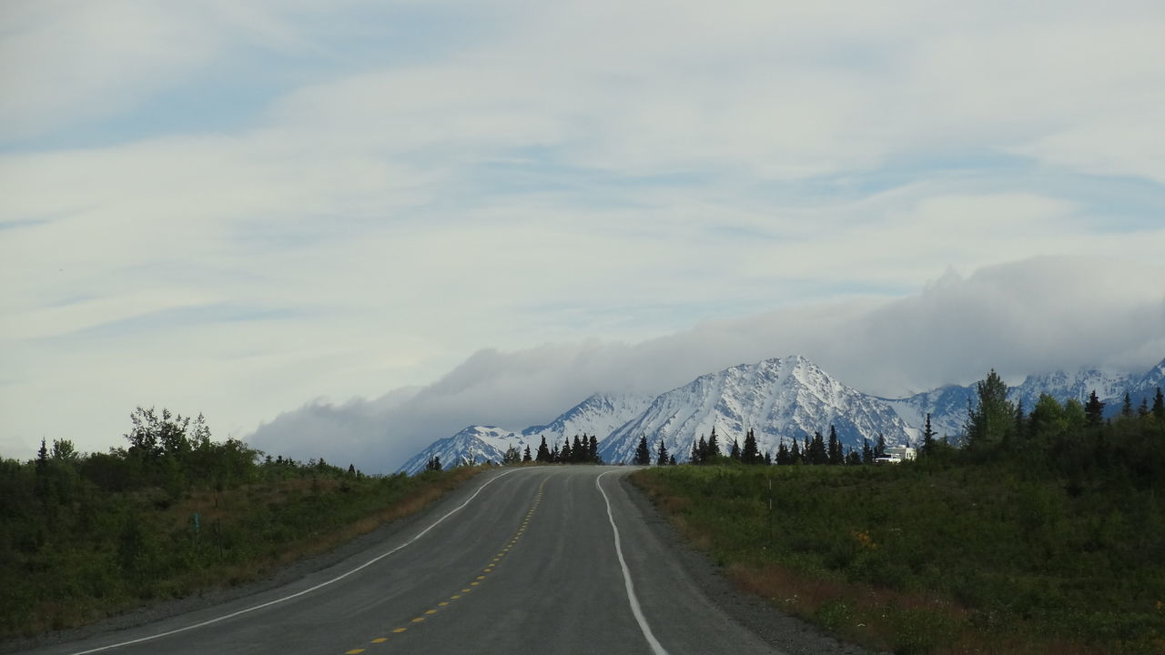 Beauty In Nature Canada Day Kluane National Park & Reserve Landscape Mountain Nature No People Outdoors Road Road Marking Scenics Sky The Way Forward Tranquil Scene Tranquility Transportation Tree Yukon
