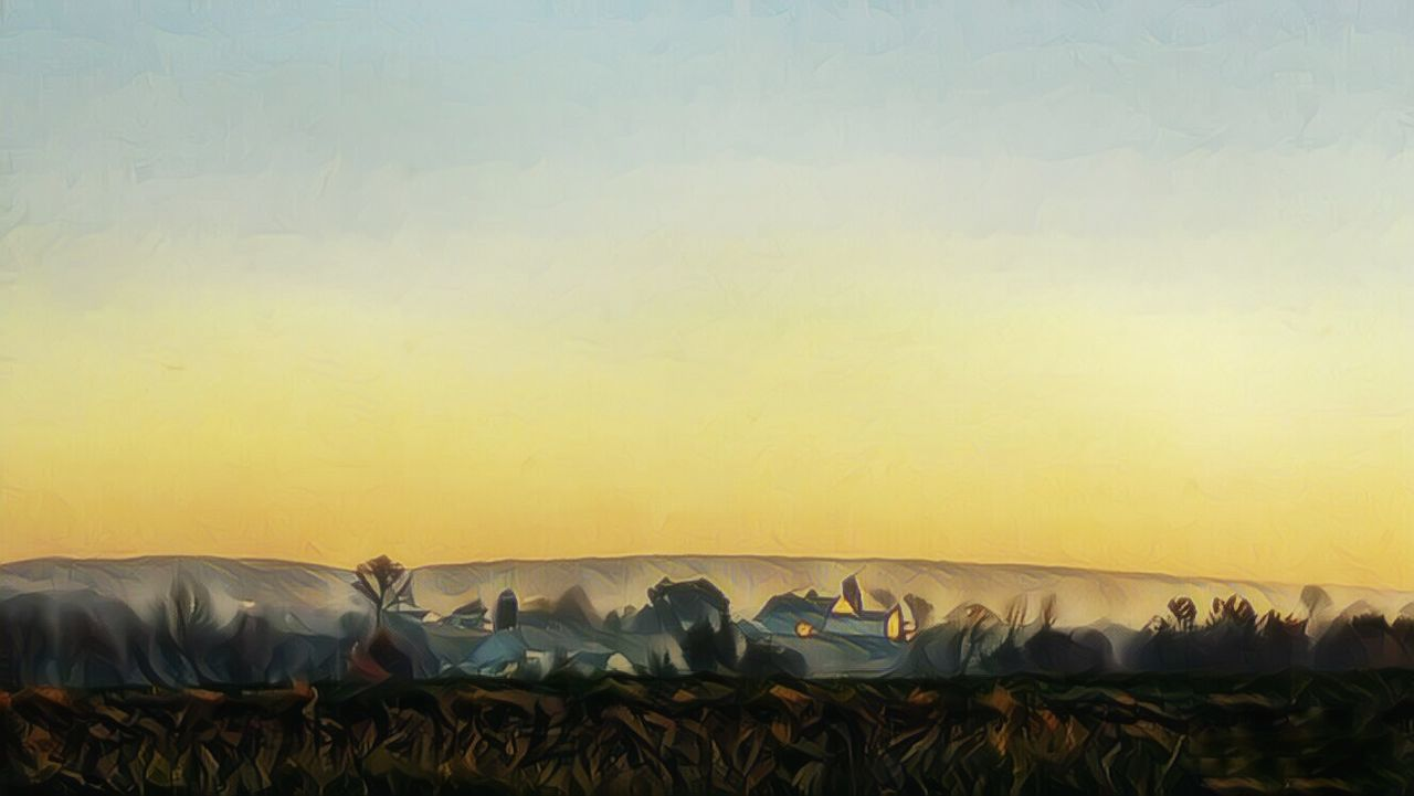Low Angle View Sunrise Silhouette Nature Photography Allshots Bestcaptures Beauty In Nature Misty Morning Illuminated Agriculture Fog Magic Hour & Weather Landscape Outdoors No People Agriculture Nature Day Sunrise Reflection