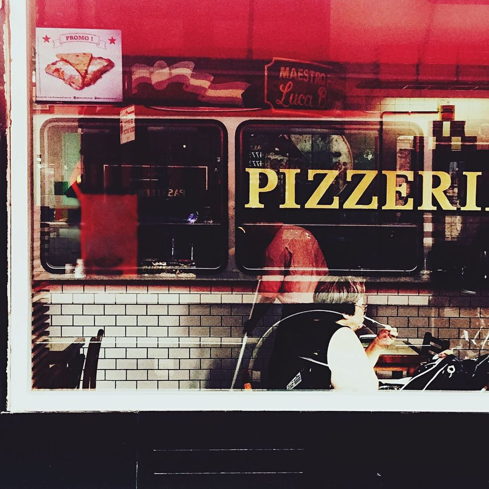 One Person Real People Day Indoors  One Man Only Adults Only Firefighter People Adult Pizza Pizza Time Reflection Colors Intense Colors Street Photography Muzzarella Window Getting Creative Getting Inspired