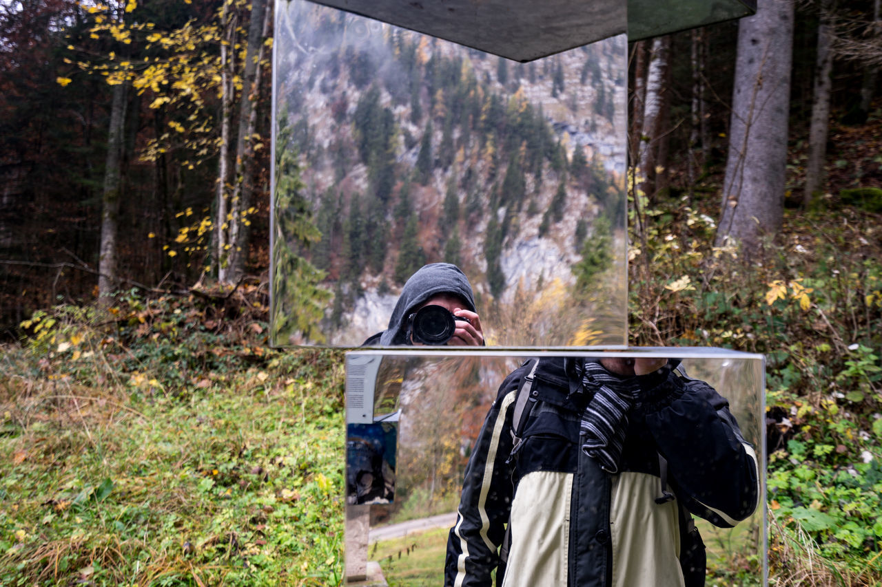 shifted reality Cold Light And Reflection Mirror Mirrored Mirrorselfie Mountain Outdoors Reflection Self Portrait Selfie Shifted Reality ThatsMe Warm Clothing Selfie-millionaires