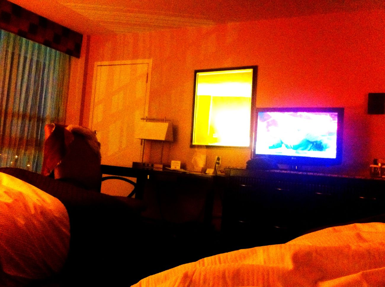Watching stupid TV with Marguerite in a hotel at JFK. Flight cancellation. at Double Tree by Hilton Hotel Watching Stupid TV With Marguerite In A Hotel At JFK. Flight Cancellation.