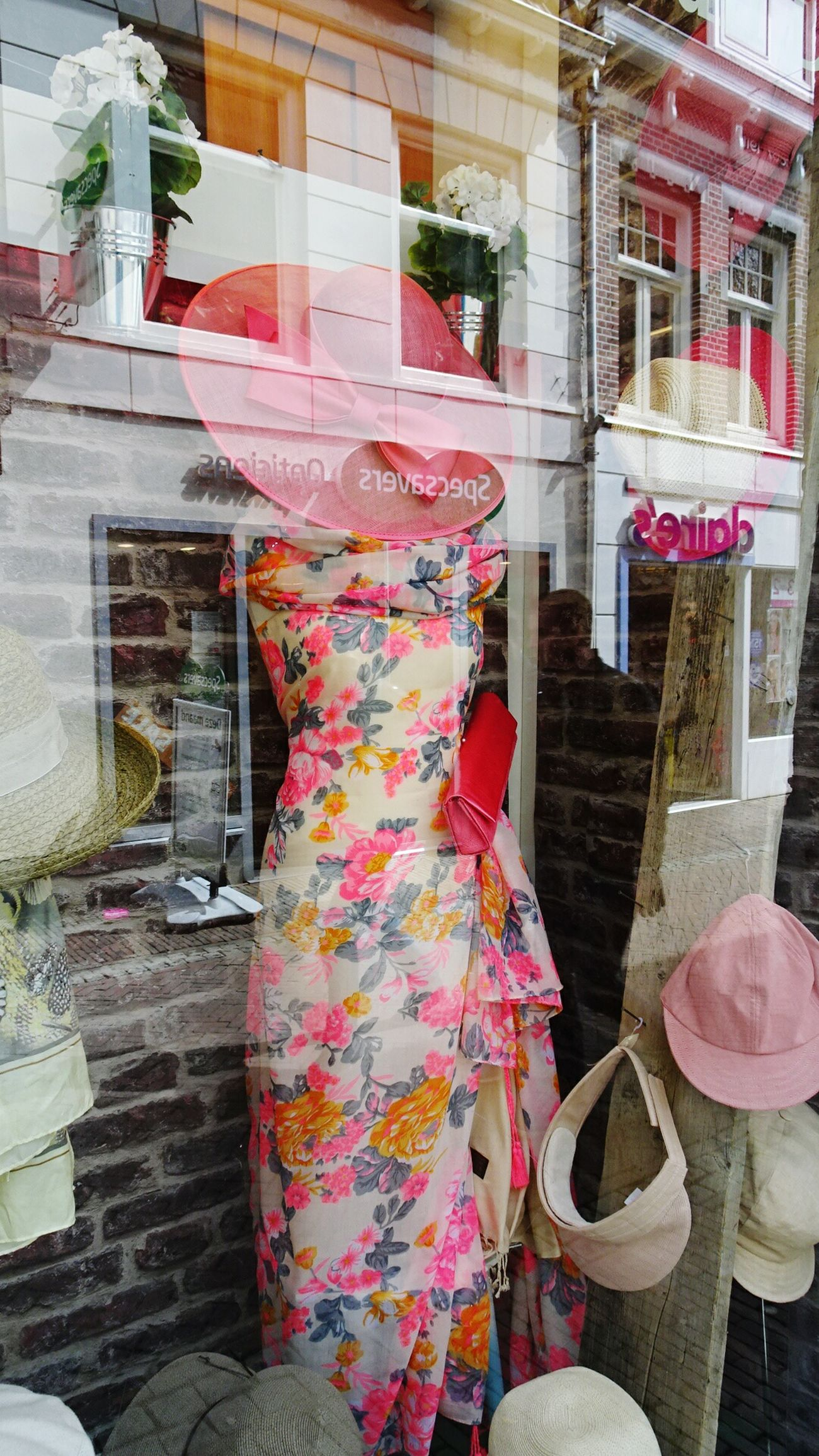 Shopwindow Beautiful Dress  Showing Imperfection Taking Photos Reflection In The Window