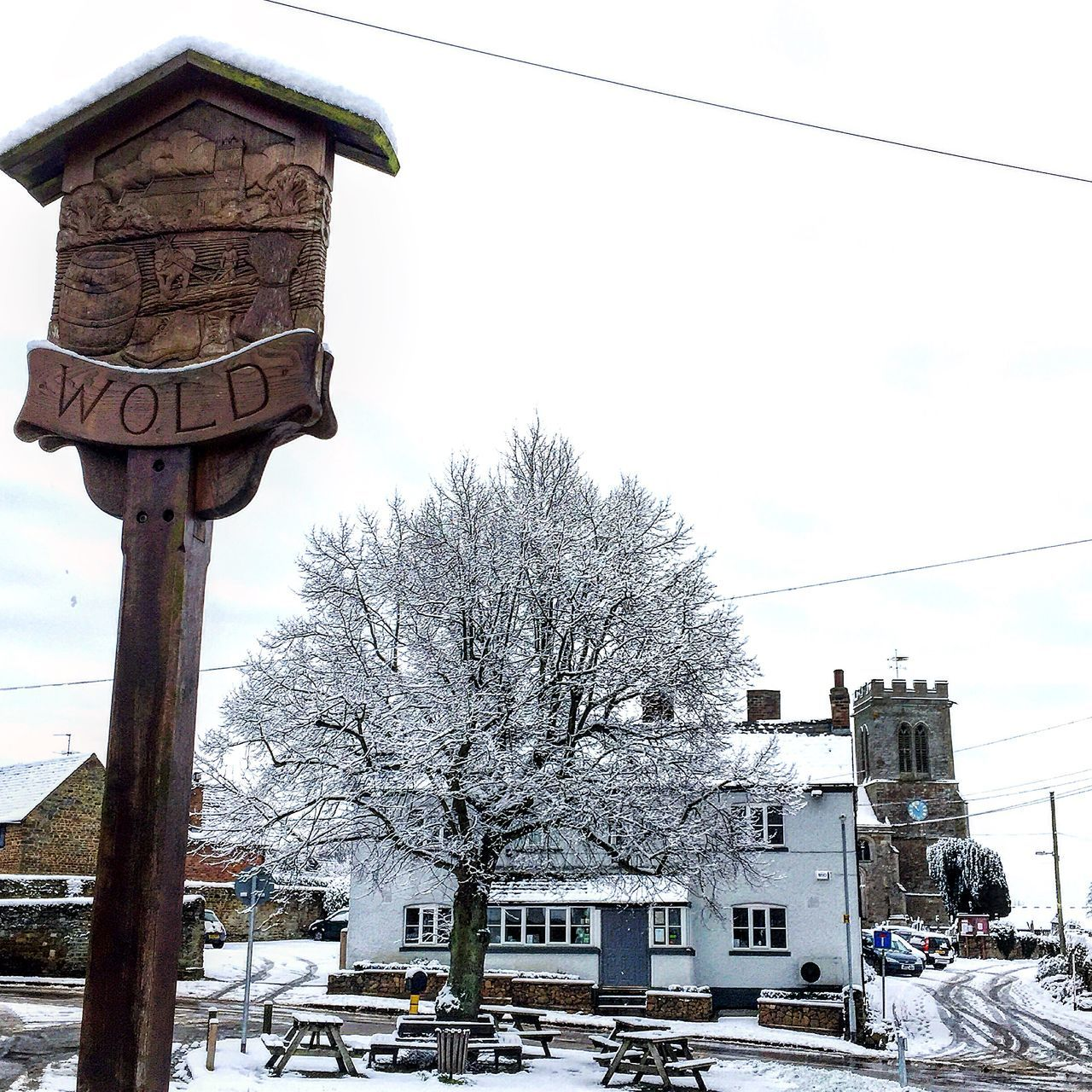 Wold village in Northamptonshire Old Wold Village Pub Church Sign Green Northamptonshire Northampton Pubs Northampton Northants Uk United Kingdom Snow Snowy Snow ❄ Snow Covered