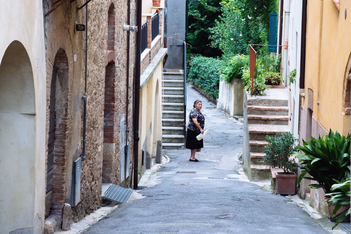 Alley Beutiful Place  Elderly Hills Italian Italy Lady Landscape Local Medioeval Village Old Buildings Plants Road Scenary Summer Sunny Day Toscana Tourism Tourist Tourists Tranquility Travelling Tuscany Village Walking