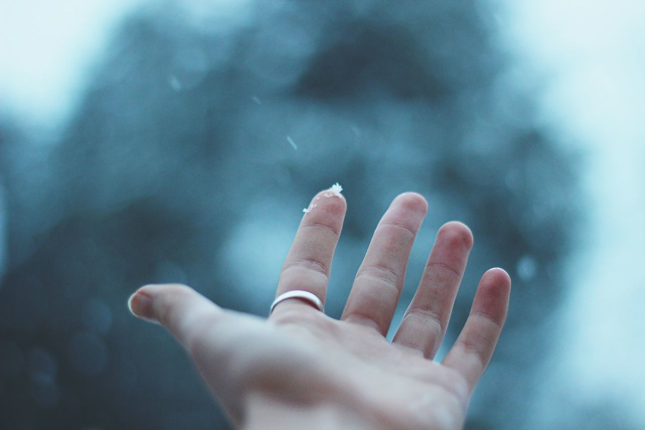 blue bokeh Christmas close-up cold cold temperature day human body part human finger human hand Nature one person people real people sky snow Snow ❄ snowflake snowing Winter