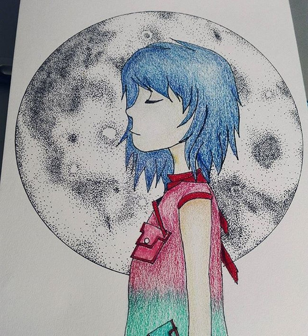 Brillo lunar Gorillaz Noodle PlasticBeach Art Doodle Sketchaday Scketch Moonlight
