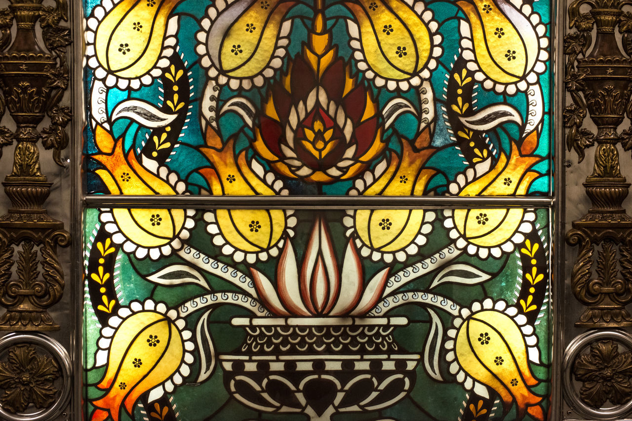 A close-up view of details of stained glass decorations inside the underground hall of Novoslobodskaya station of Moscow Metro Koltsevaya Line: https://en.wikipedia.org/wiki/Novoslobodskaya Abstract Art Backgrounds Blue Close-up Design Full Frame Metro Metro Design Metro Station Moscow Multi Colored No People Novoslobodskaya Pattern Stained Glass Art Stained Glass Lighting Stained Glass Window