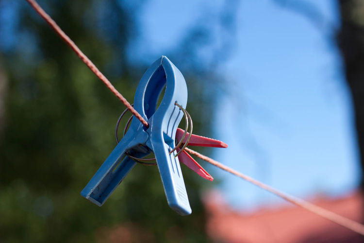 Blue Close-up Clothes Peg Day Focus On Foreground No People Outdoors Selective Focus