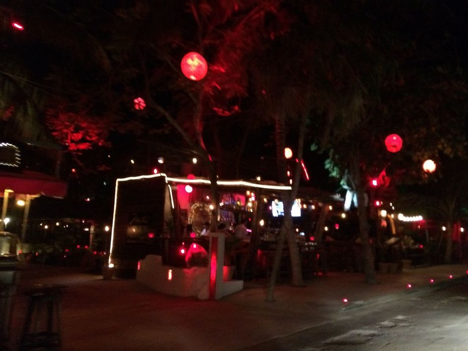 Night Tulum , Rivera Maya. Magic Illuminated Outdoors Mistic Place