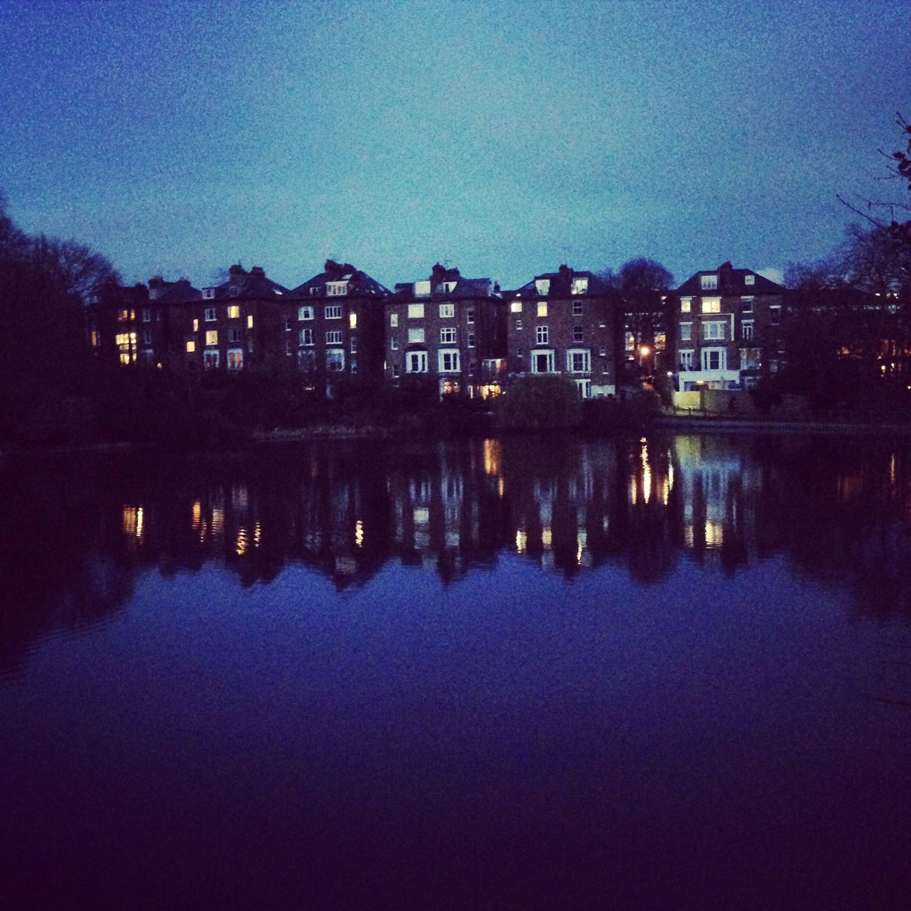 Past Sunset in Hampstead Heath Reflection of Houses