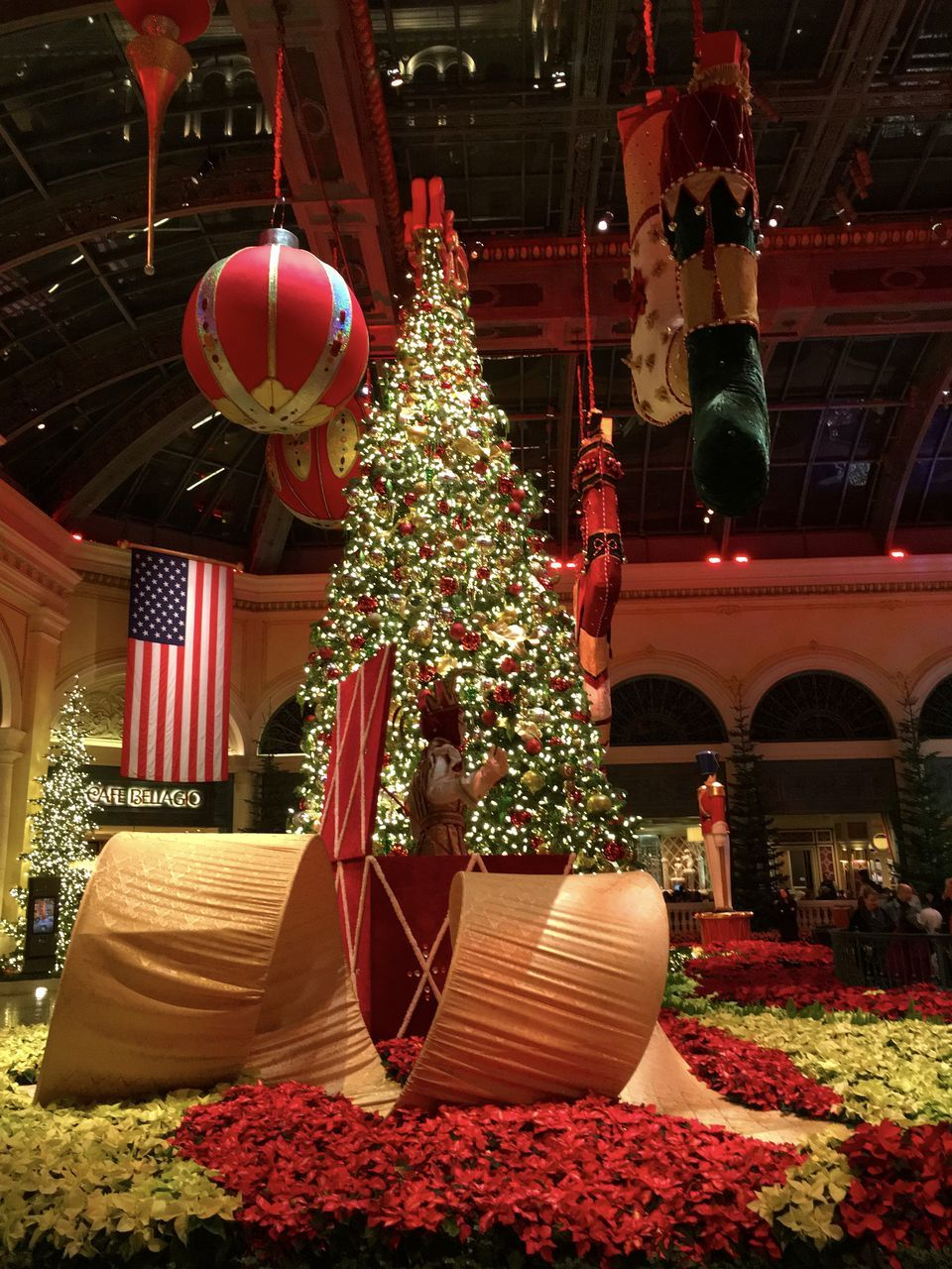 red, celebration, christmas, holiday - event, flag, no people, christmas decoration, tree, indoors, night, architecture