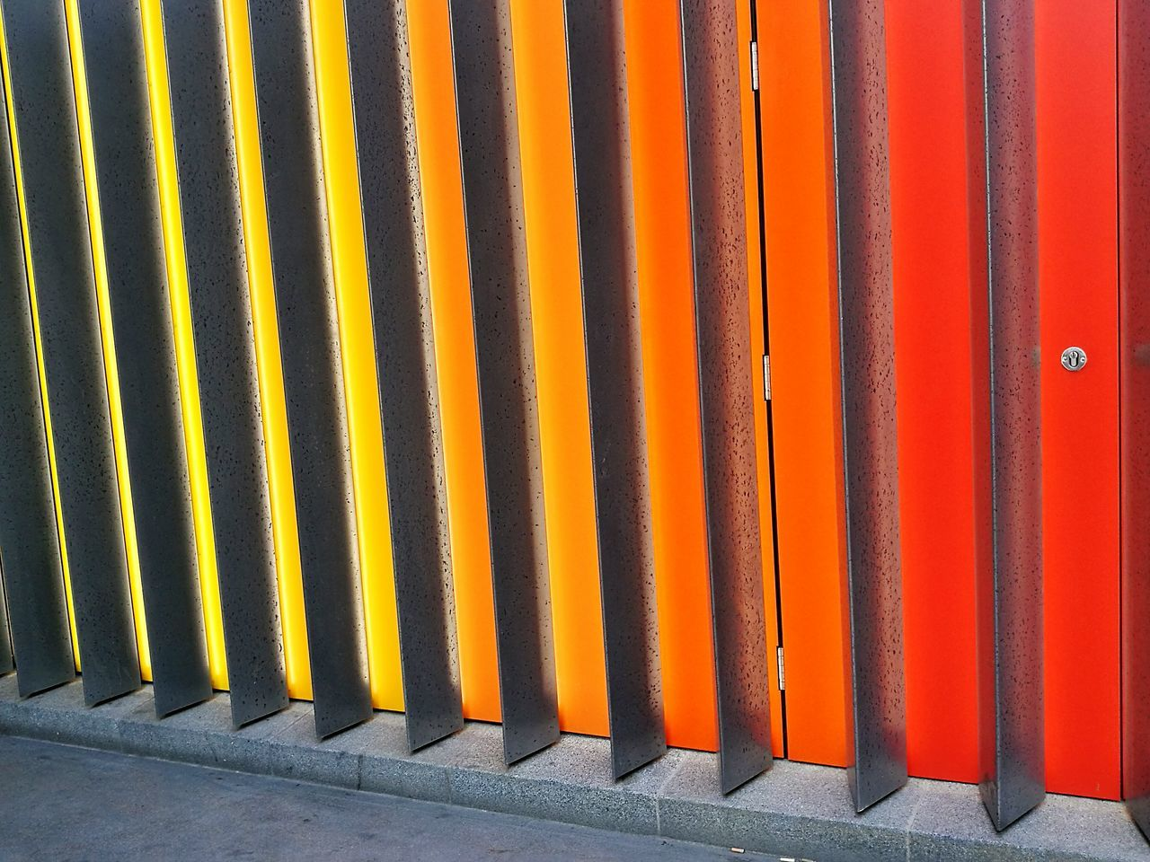 Orange Color In A Row Backgrounds Pattern Yellow Textured  Built Structure Architecture Building Exterior Multi Colored No People Hidden Door London Liverpool Street Liverpool St