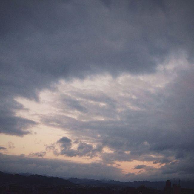 Sunset 山がほんのり雪化粧。