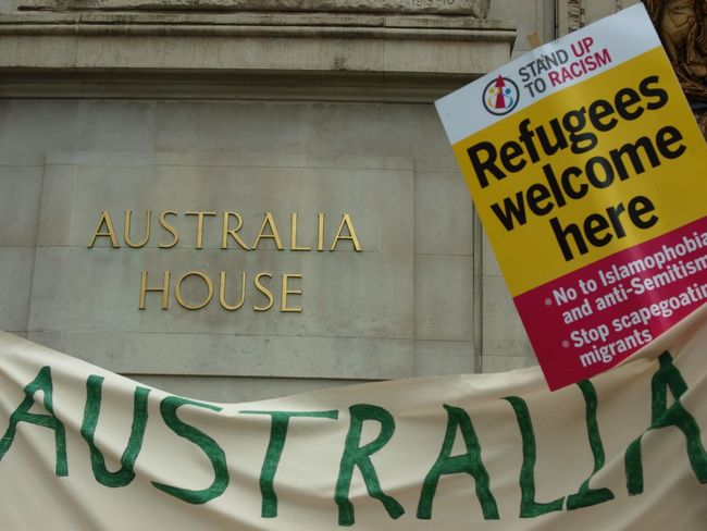 Australia House. Refugees Welcome Here. Protest against Australian immigration policy. London. 19-03-16 Stevesevilempire Olympus Zuiko Politics Britain Steve Merrick Australia House Refugeeswelcome London Protest Immigration
