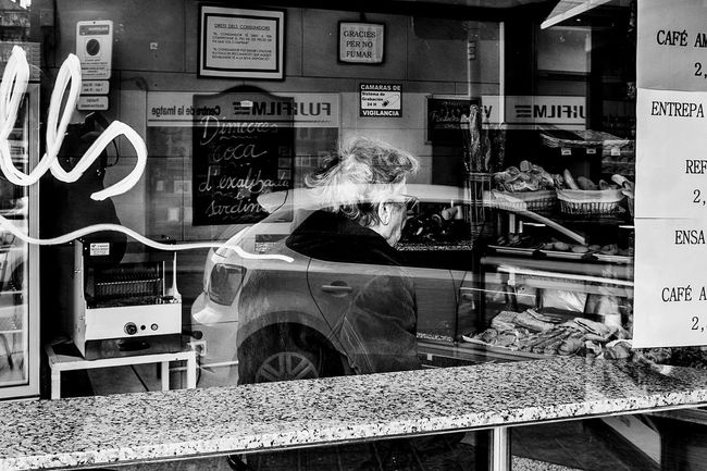 Open Edit Street People Streetphotography Blackandwhite Monochrome_life Monochrome Light And Shadow Reflection Old Lady Shopfront Bakery