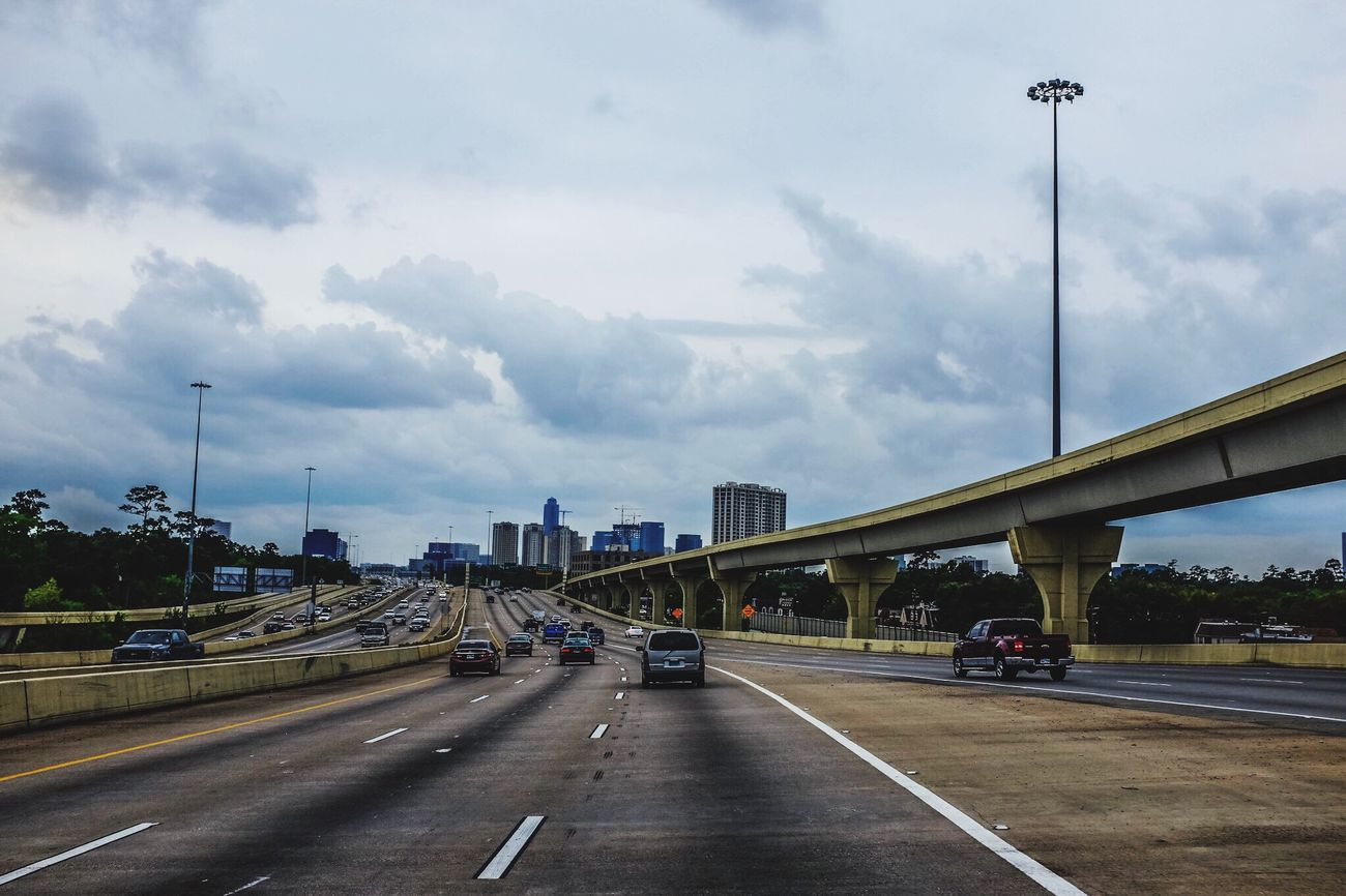 Houston Texas Way Freeway Road On The Road Car Driving Looking Into The Future