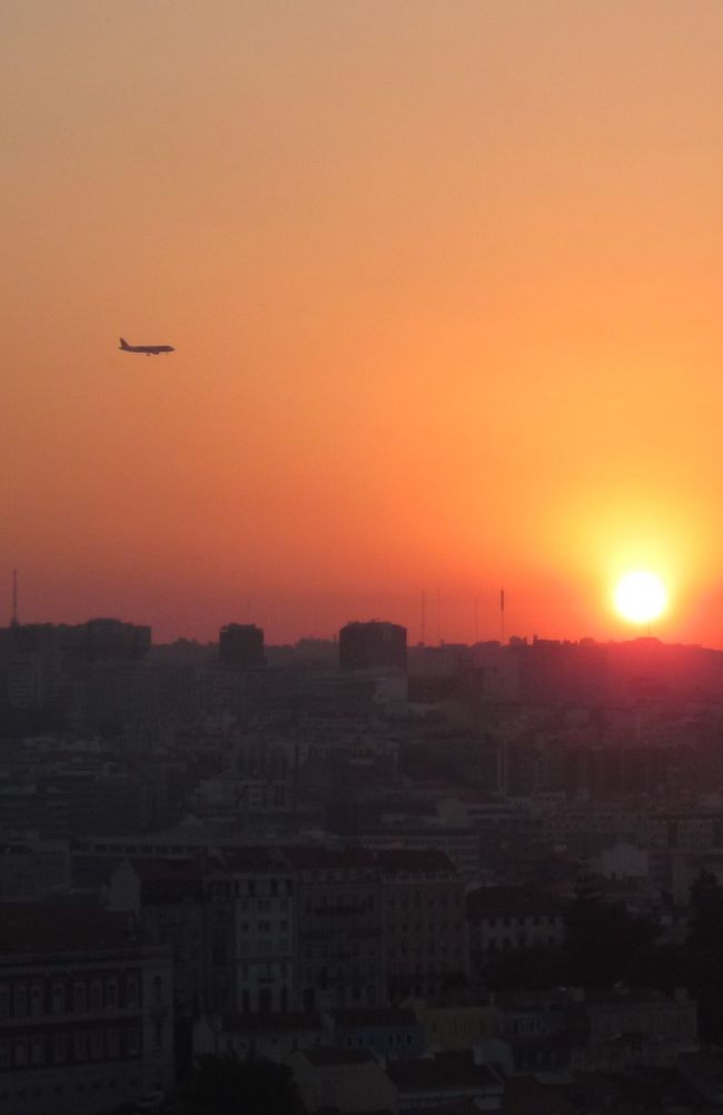 Sunset Orange Color City Silhouette Airplane Outdoors Cityscape Sky