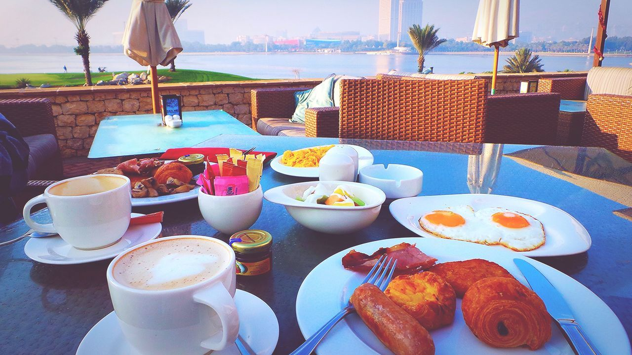 Visual Feast 🍽 Breakfast With A View Food And Drink Table Food Plate Serving Size Freshness Ready-to-eat Drink Indulgence Refreshment Temptation No People Meal Day SLICE Outdoors Appetizer Gourmet Healthy Eating Lakeview Dubaicreekgolfandyatchclub