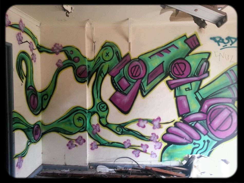Mishap & Simz Graffiti in an Abandoned Factory in collingwood. soon to become another apartment block