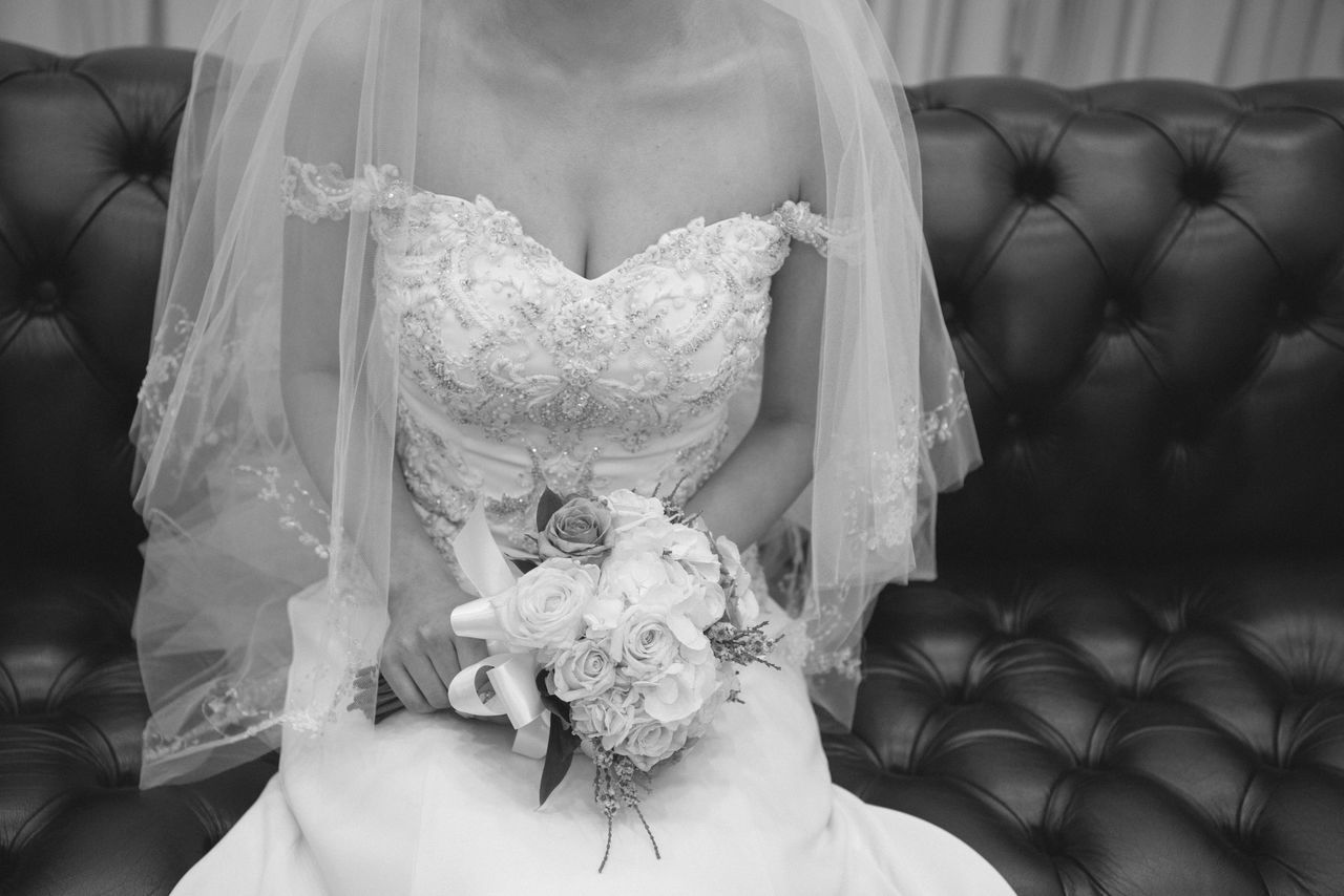Adult Adults Only Bouquet Bride Celebration Event Ceremony Close-up Day Flower Indoors  Life Events Lifestyles Midsection One Person One Woman Only Only Women People Real People Wedding Wedding Ceremony Wedding Dress Women