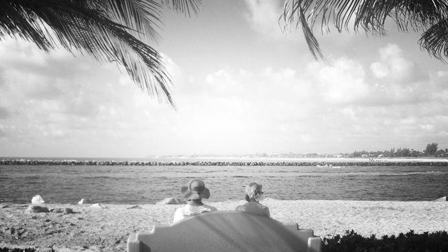 Beach Blackandwhite Black And White Enjoying The Sun