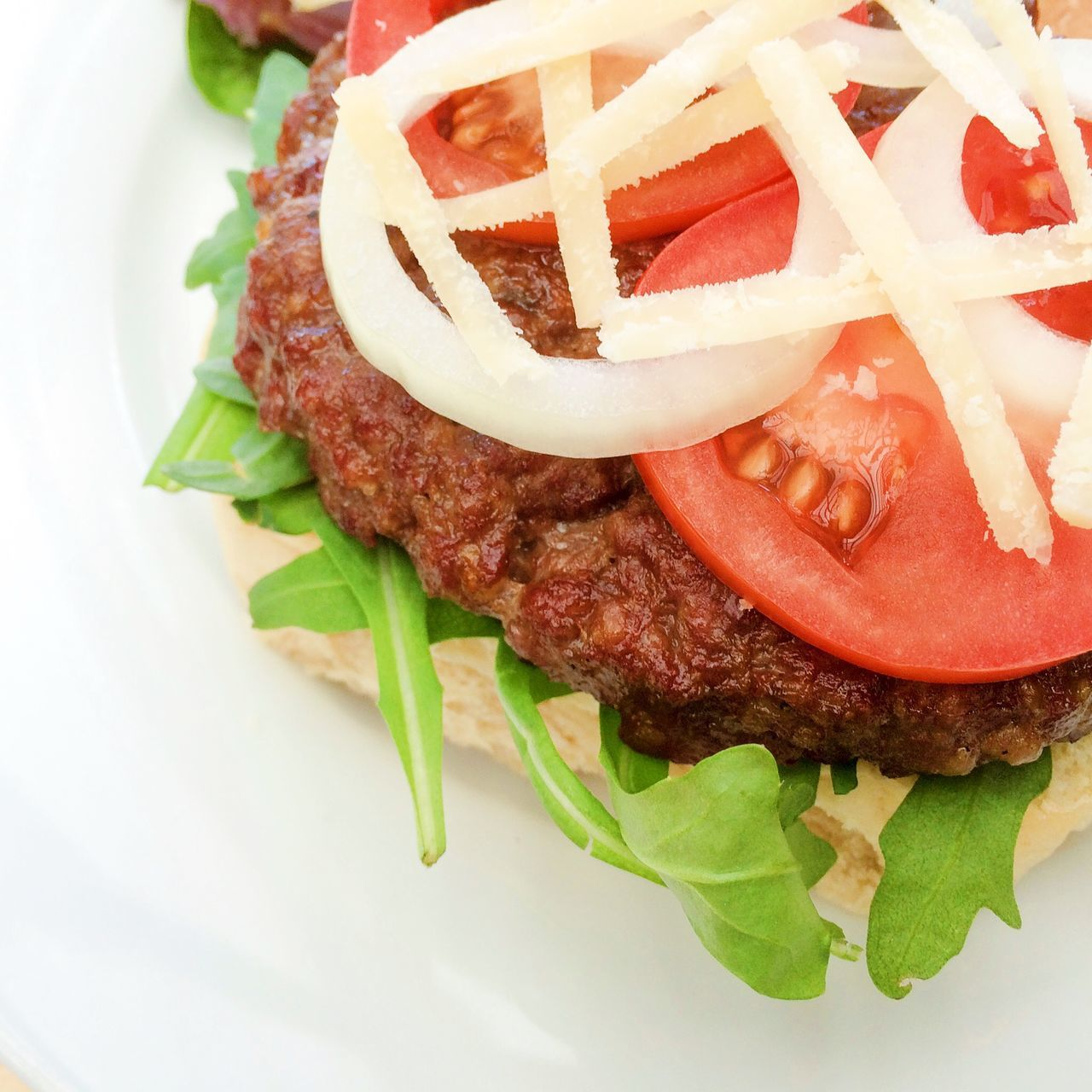 Close-Up Of Burger Served On Plate