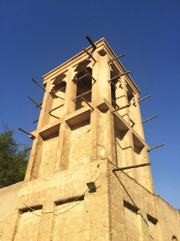 Wind Tower Architecture Old Town Wood Yellow Stone Tower Blue Sky