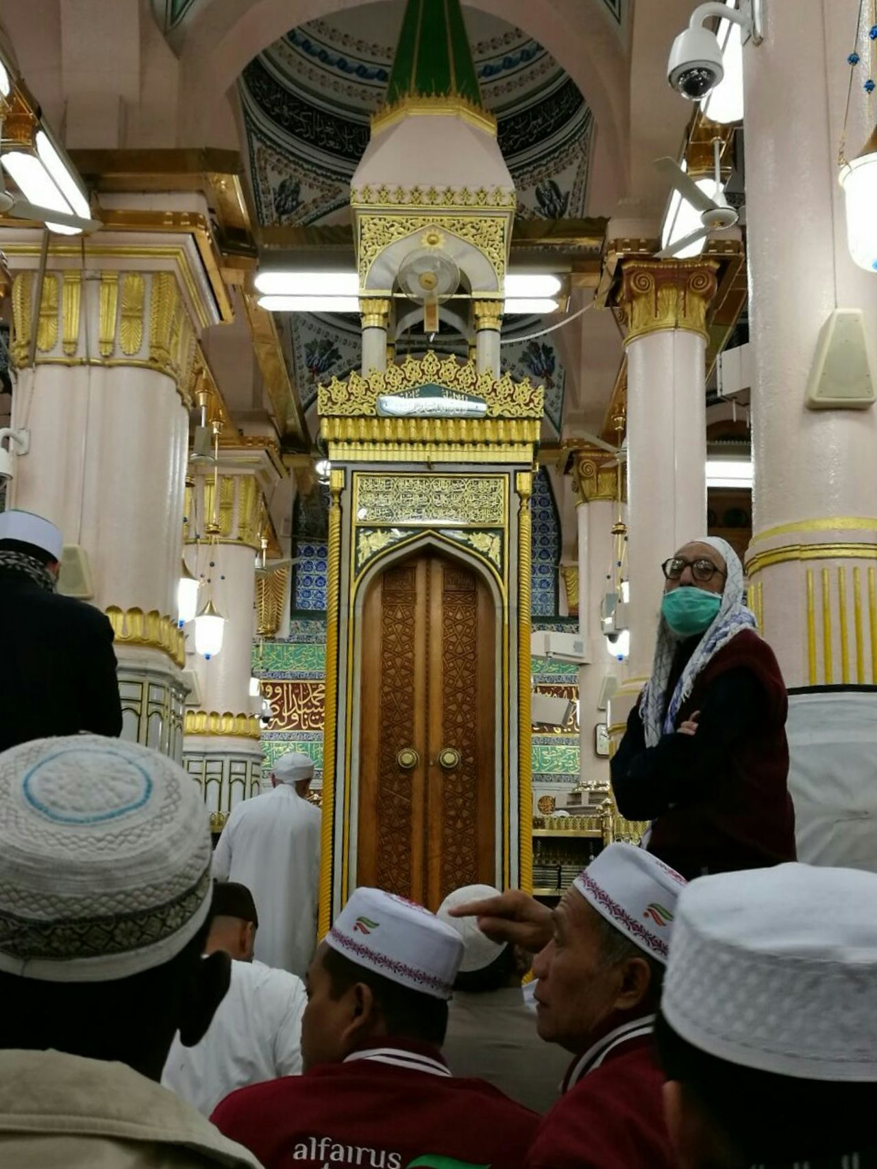 Muslim pray in the holy mosque Religion Travel Spirituality Place Of Worship Praying Travel Destinations People Sitting Architecture Indoors  Architectural Detail Mecca Medina Muslim Islam Worship Adult Believe Allah AllahuAkbar Allah Is The Almighty Mosque Masjid Group Of People faith Faith, Belief, Worship, Creed; Sect, Mosque, Cult, Denomination
