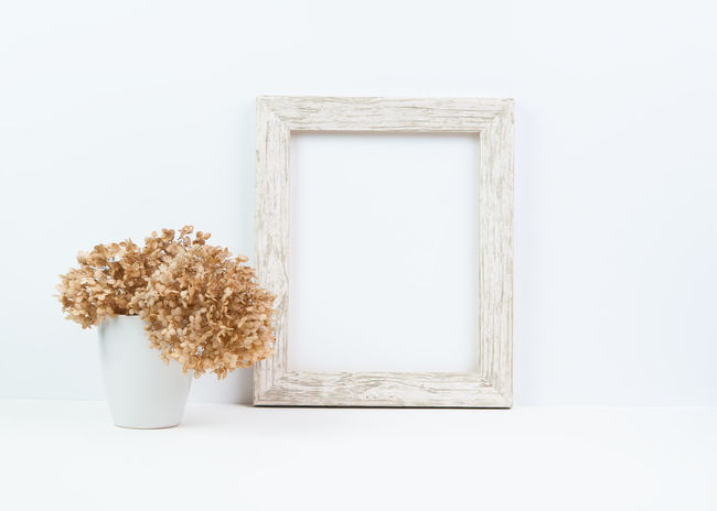 Close-up Day Dried Flower Flowers Fragility Frame Freshness Hydrangea Indoors  Mock Up Mockup Nature No People Portrait Orientation Rustic Stock Photo Stock Photography Table White Background Wood - Material Wooden