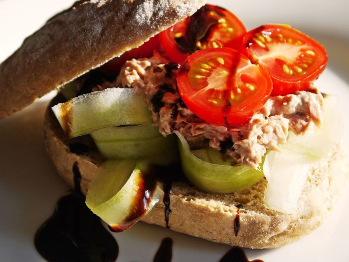 Balsamico Tradizionale Bun Close-up Cucumber Slices Day Food Food And Drink Freshness Healthy Eating High Angle View Indoors  No People Ready-to-eat Sandwich SLICE Tomatoes Tuna Salad Vegetable