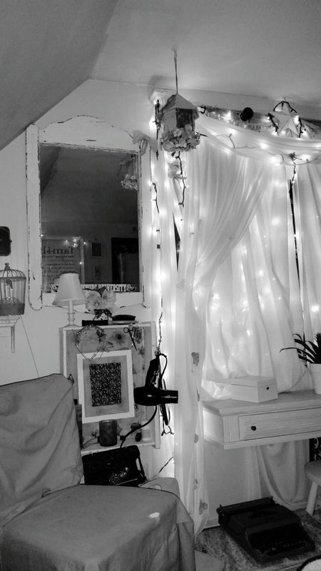 Bucks County Pennsylvania My Bedroom Black And White fairy lights My Mirror My Quirky Style